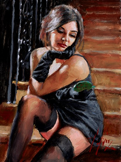 Saba on the Stairs with Mirror (Green) by Fabian Perez - Original Painting on Stretched Canvas